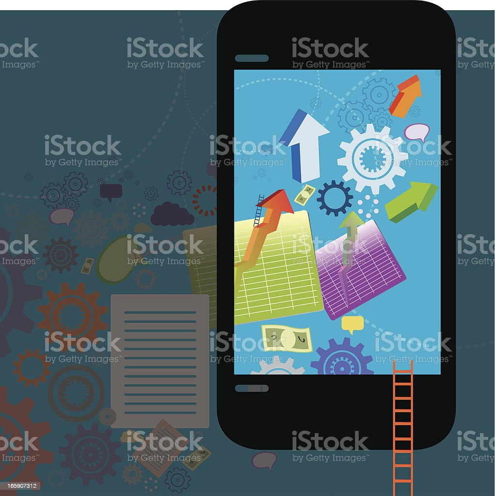 Phone with Economics Navigation royalty-free stock vector art
