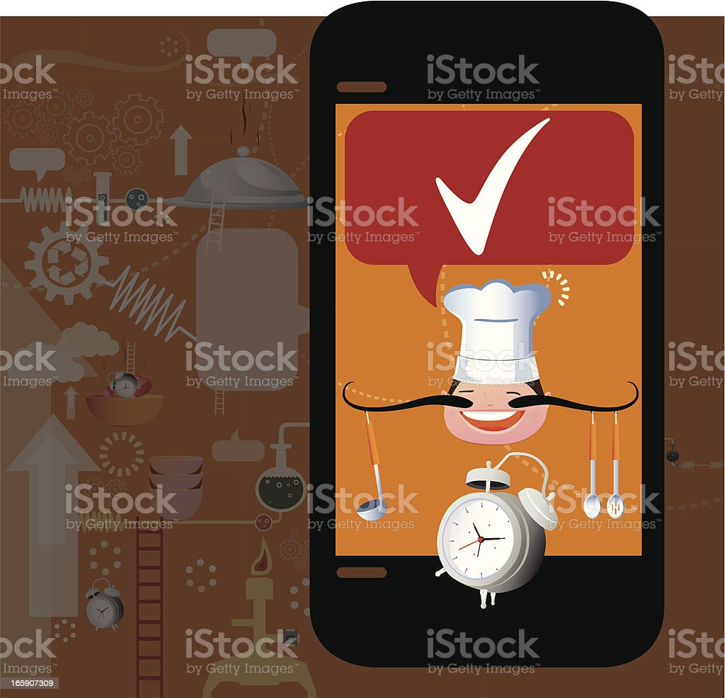 Phone with Food service royalty-free stock vector art