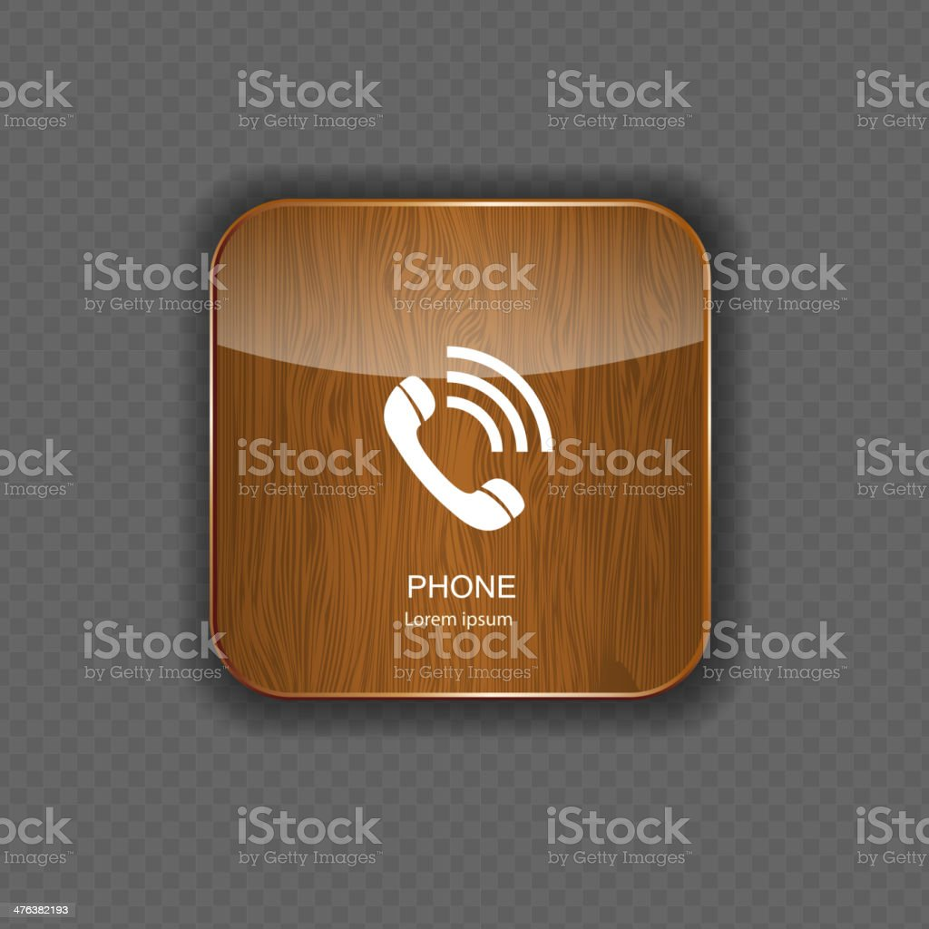 Phone wood application icons royalty-free stock vector art