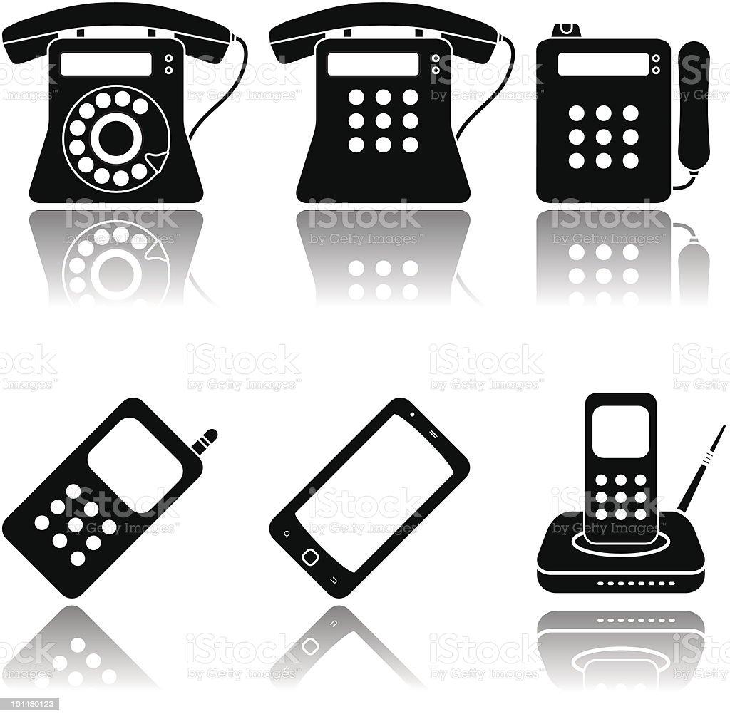 Phones icon set royalty-free stock vector art