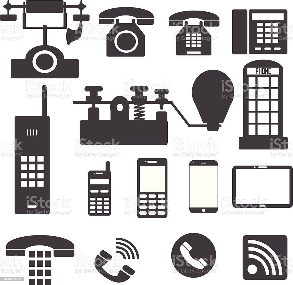 Phones icons vector art illustration