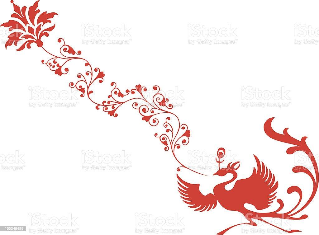Phoniex & Flower vector art illustration