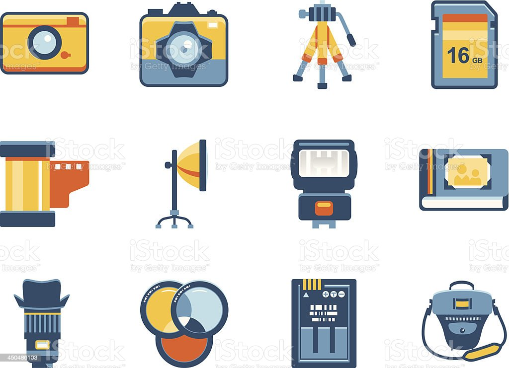 Photo accessories and equipment iconset royalty-free stock vector art