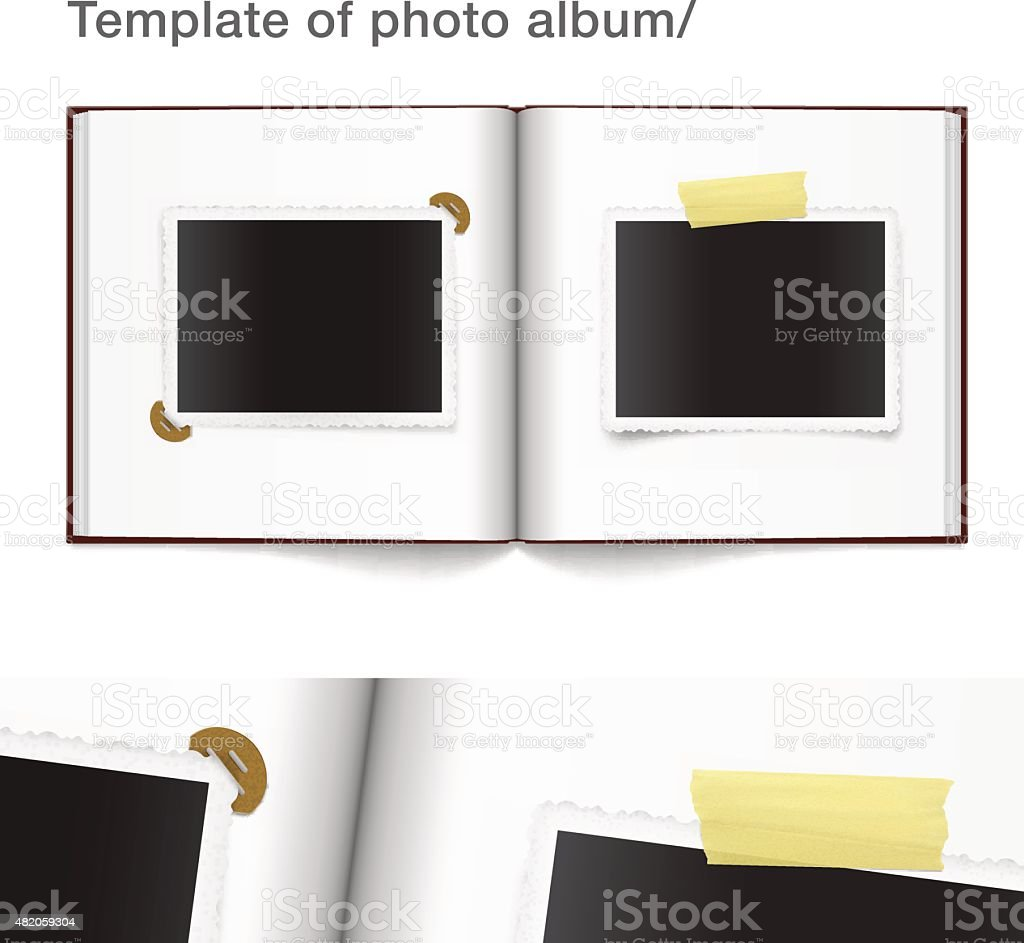 Photo album with taped photo frame on white background vector art illustration