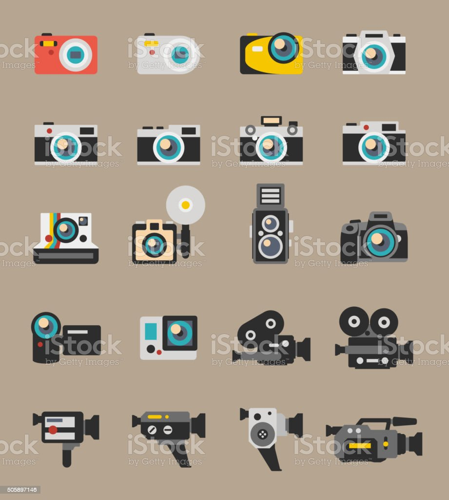 Photo and video camera flat vector icons vector art illustration