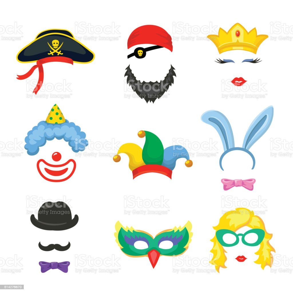 Photo booth Birthday and Party Set - glasses, hats, crown, vector art illustration
