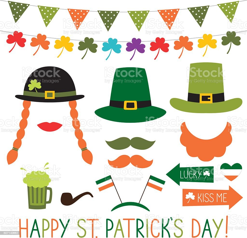 Photo booth props and decoration for St. Patrick's Day vector art illustration