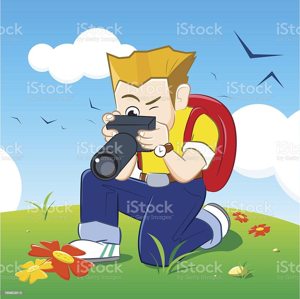 Photo Boy the Survivor is Capturing some Flowers vector art illustration