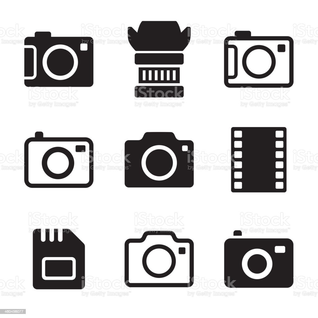 Photo Camera and Accessories Icons Set vector art illustration