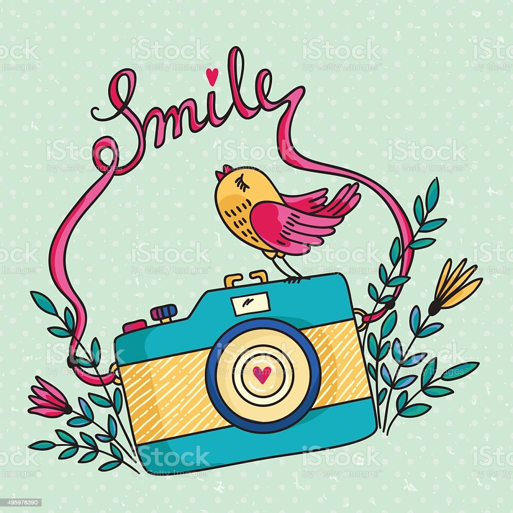 Photo camera and bird vector art illustration