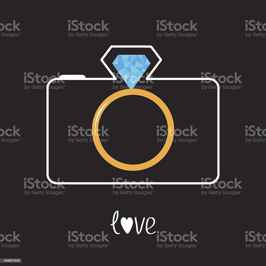 Photo camera and gold wedding ring lens. Diamond flash. Love vector art illustration