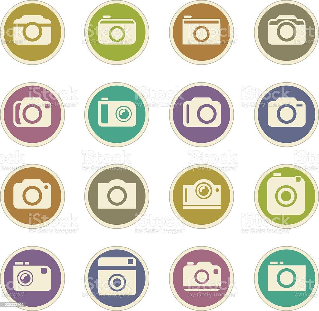 photo camera icon set vector art illustration