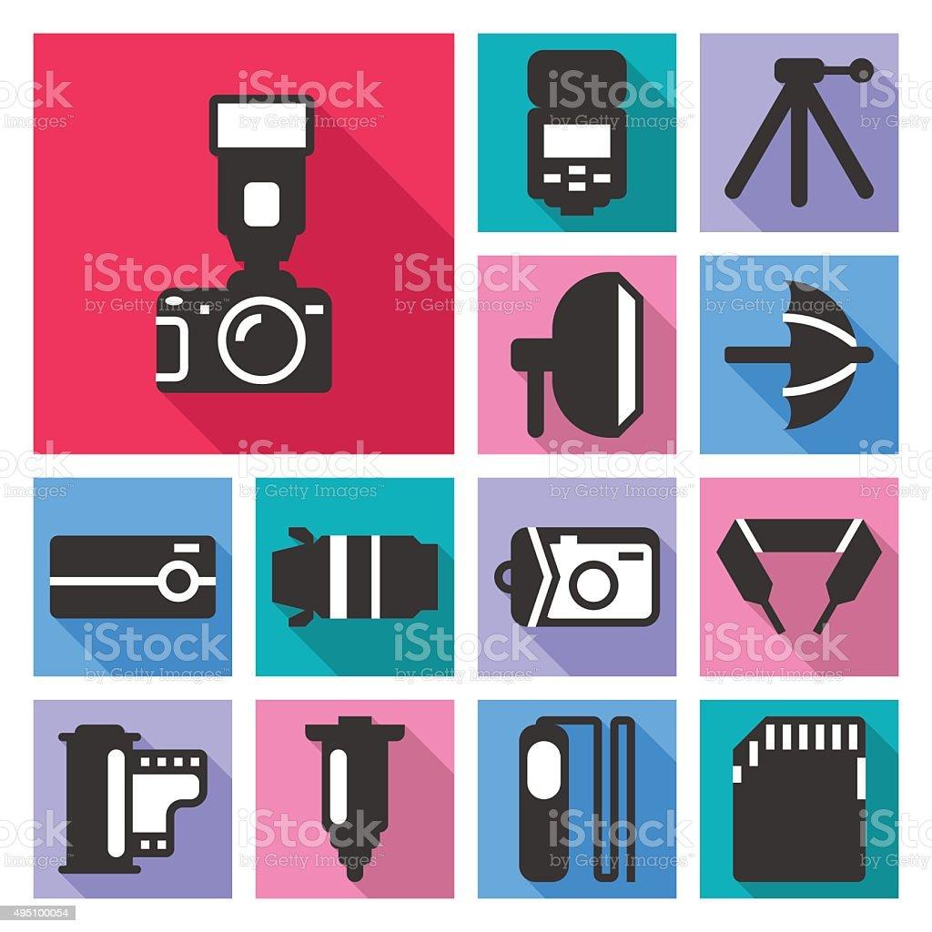 Photo camera icons set vector art illustration