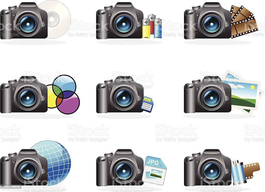 Photo camera icons royalty-free stock vector art