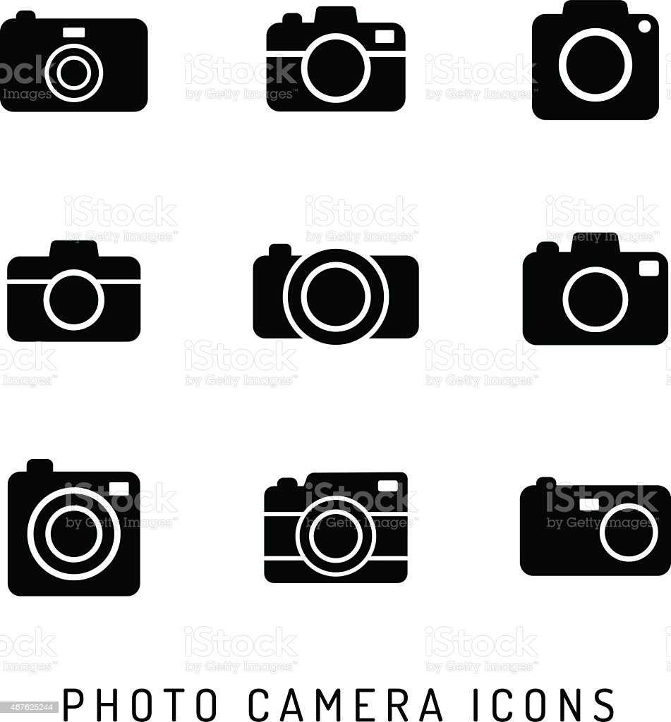 Photo camera silhouettes icon set. vector art illustration