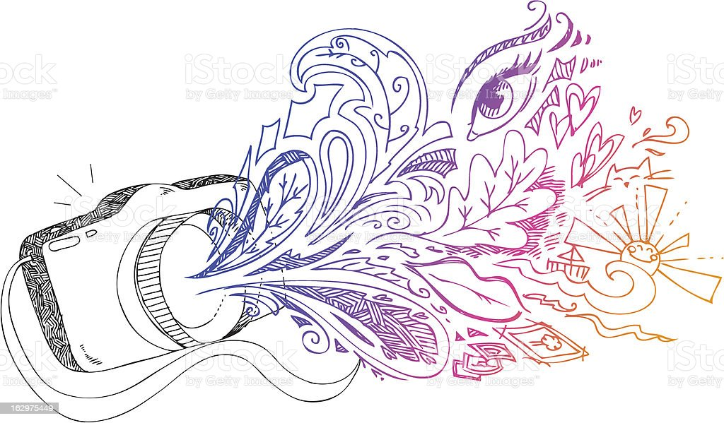 Photo camera sketchy doodles royalty-free stock vector art