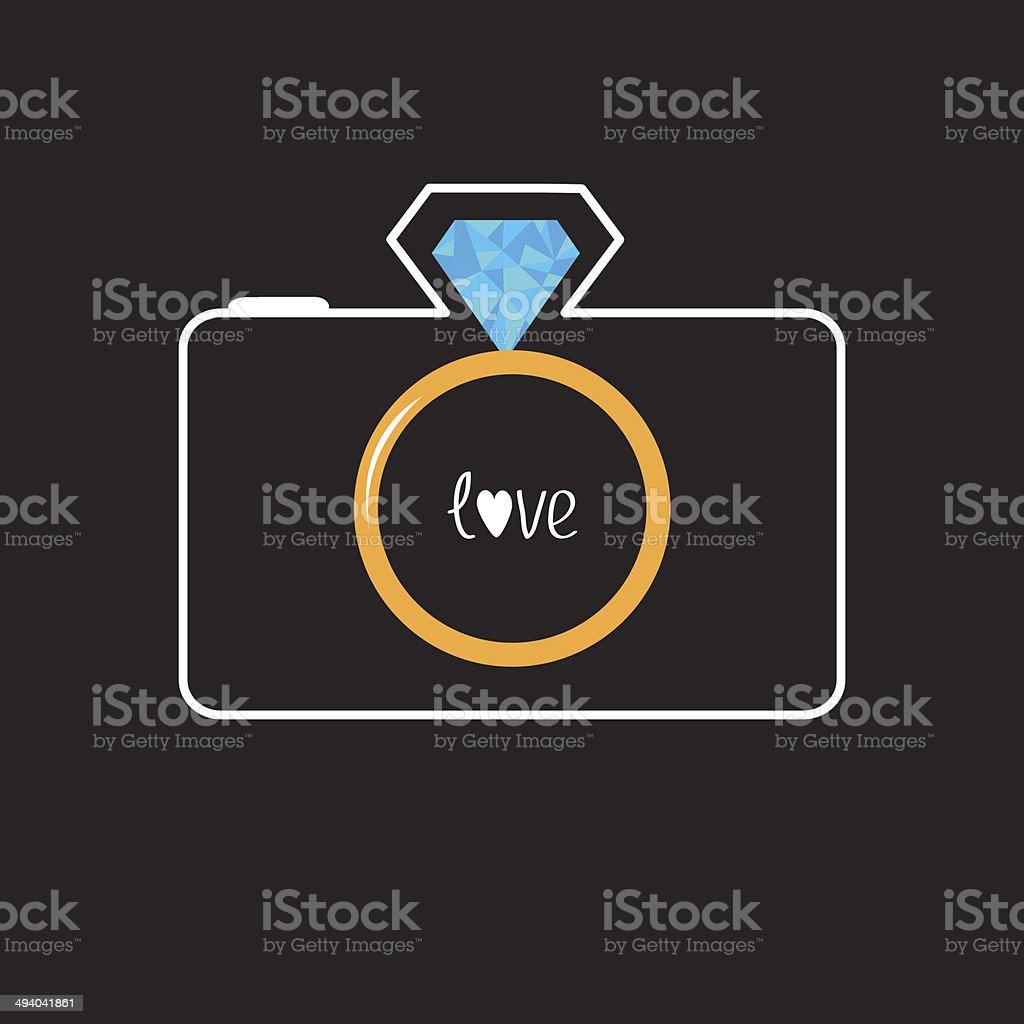 Photo camera with gold wedding ring lens. Diamond flash. Love vector art illustration