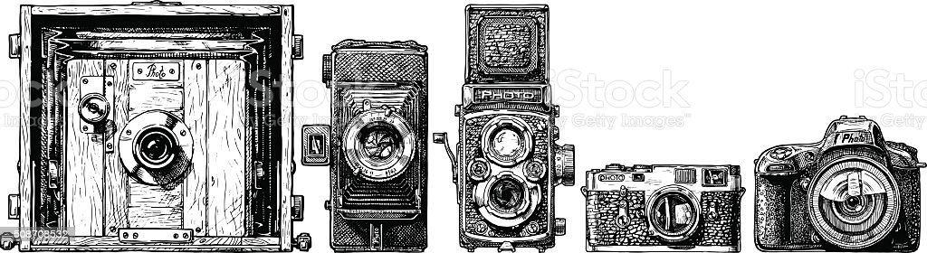 photo cameras evolution set. vector art illustration