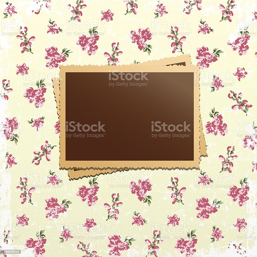Photo cards on shabby chic background royalty-free stock vector art
