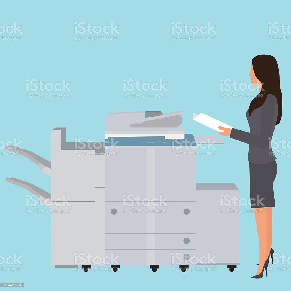 photo copy copier machine office woman standing copying document  big vector art illustration