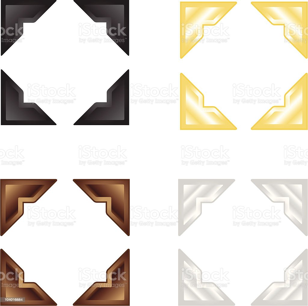 photo corners, picture edges, frame, golden, silver, metalic, wooden, texture vector art illustration
