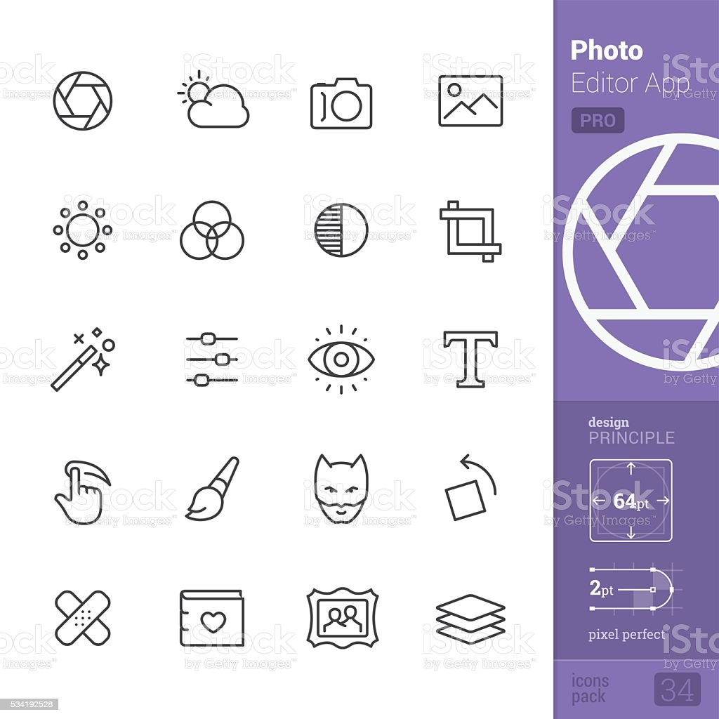 Photo Editor App Outline vector icons - PRO pack vector art illustration