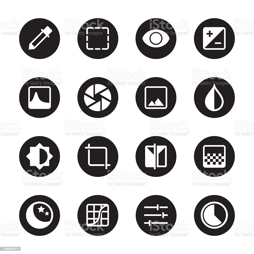 Photo Editor Icons - Black Circle Series vector art illustration
