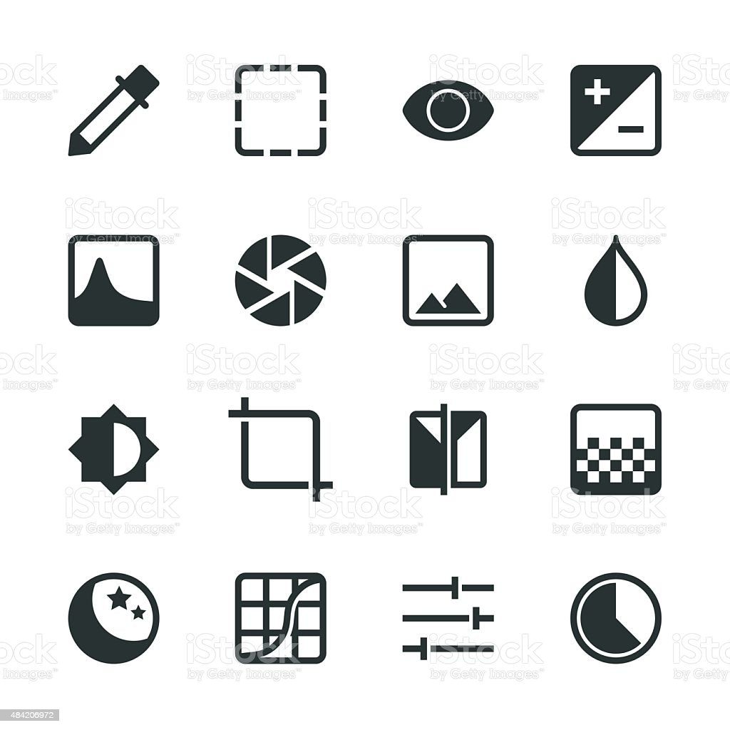 Photo Editor Silhouette Icons vector art illustration