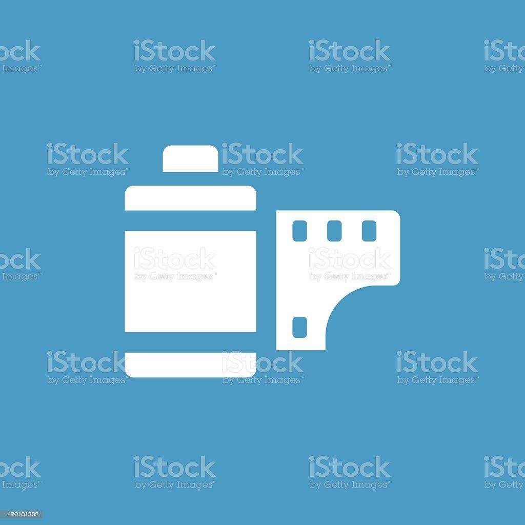 photo film icon, white on the blue background vector art illustration