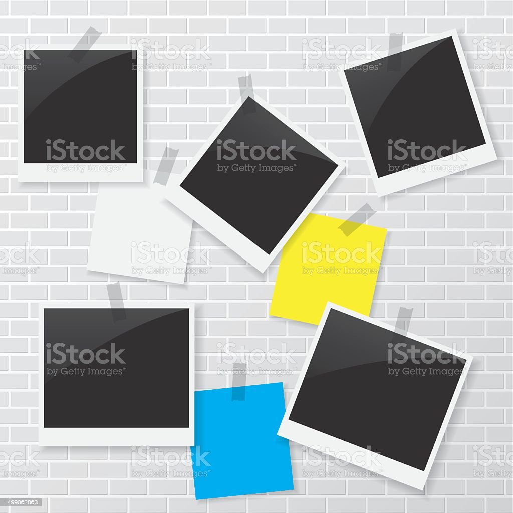 Photo frame and blank paper on brick wall vector art illustration
