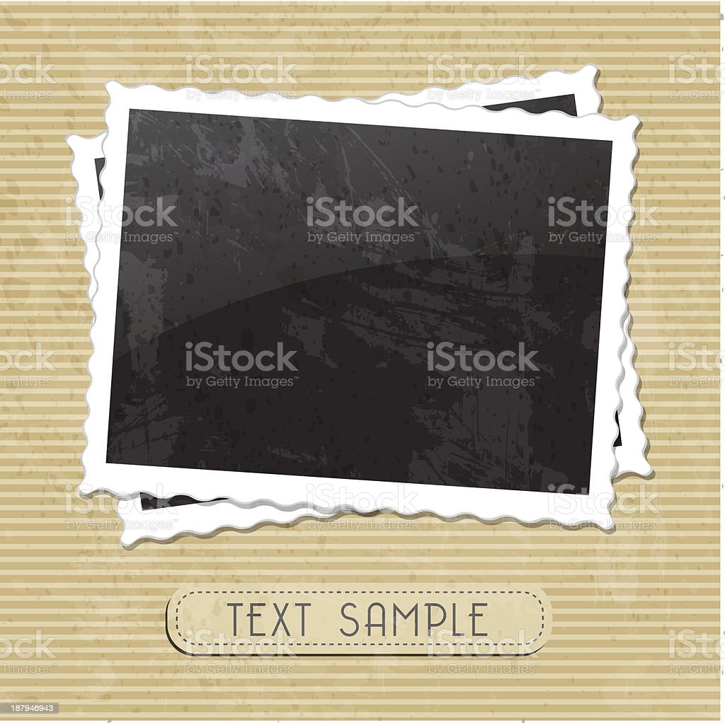 Photo frame background with a text sample on brown stripes vector art illustration