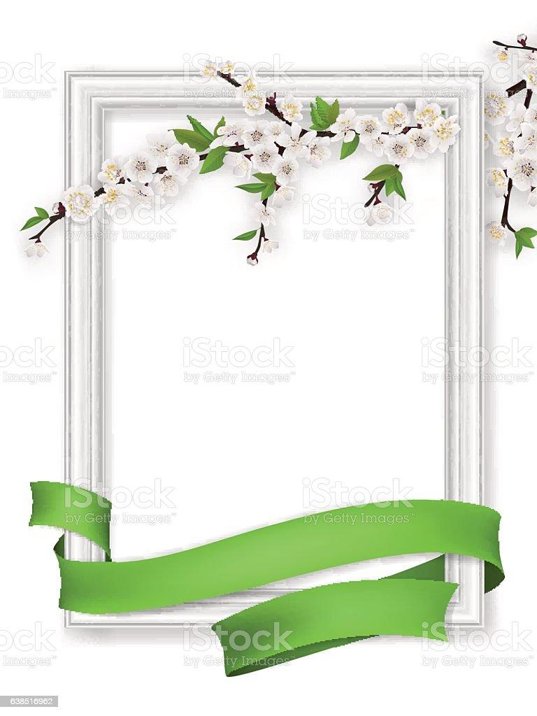 photo frame blooming branch green ribbon vector art illustration