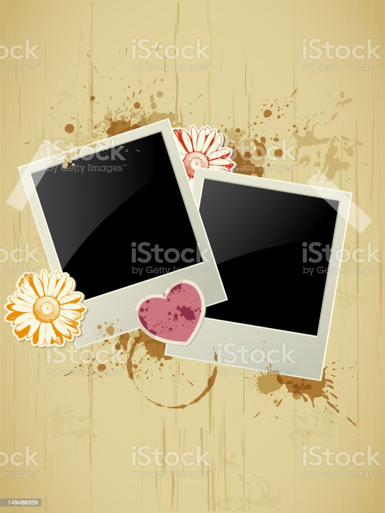 Photo frame on a grunge background royalty-free stock vector art