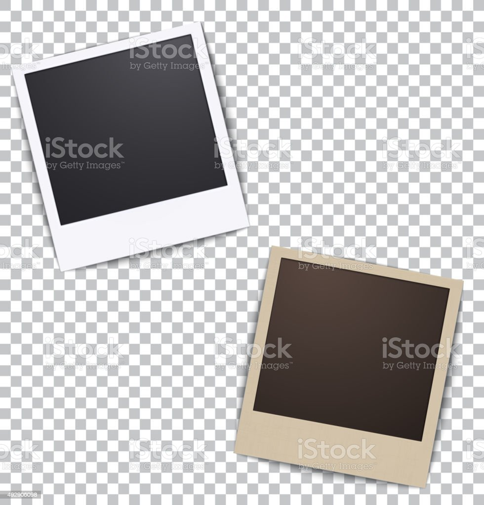 Photo frame on white a plaid background with shadow vector art illustration
