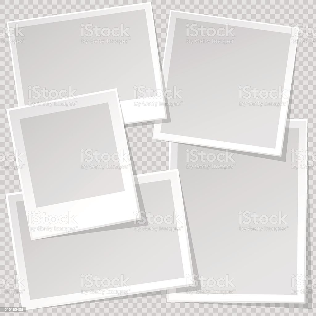 Photo Frame template with sharp transparent shadow. vector art illustration