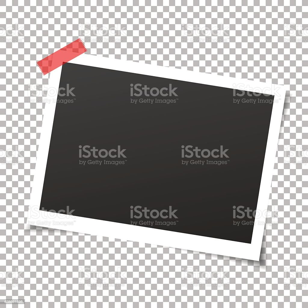 Photo frame with adhesive tapes. Vector. vector art illustration