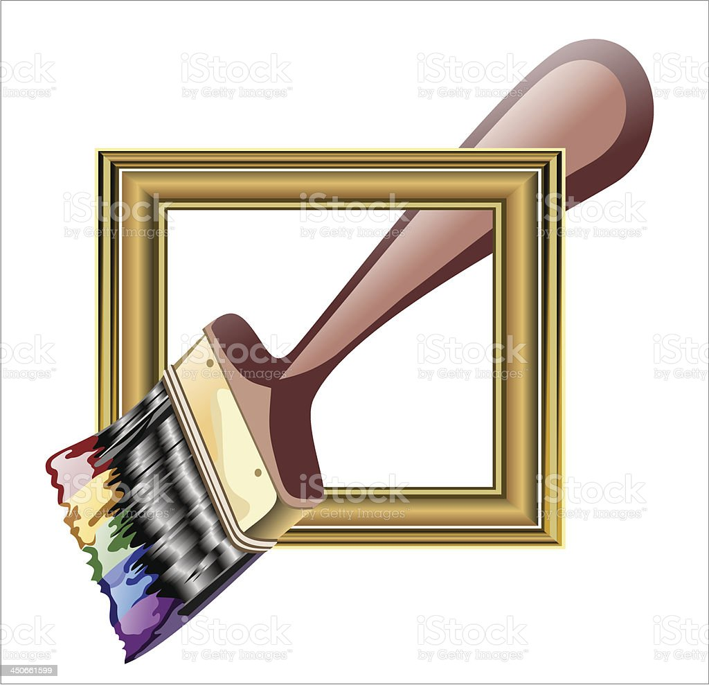Photo frame with artist's tools royalty-free stock vector art