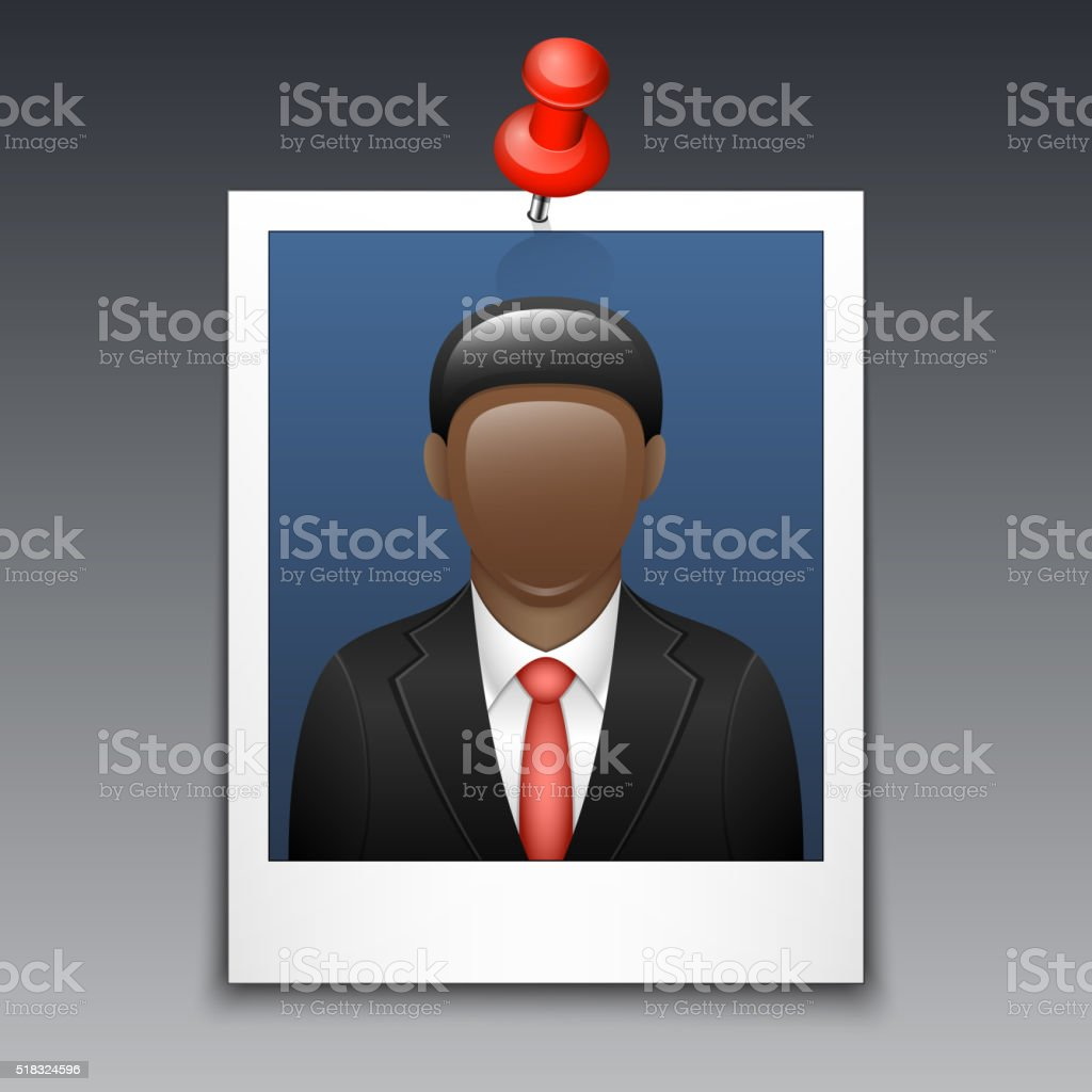 Photo frame with black man in business suit vector art illustration