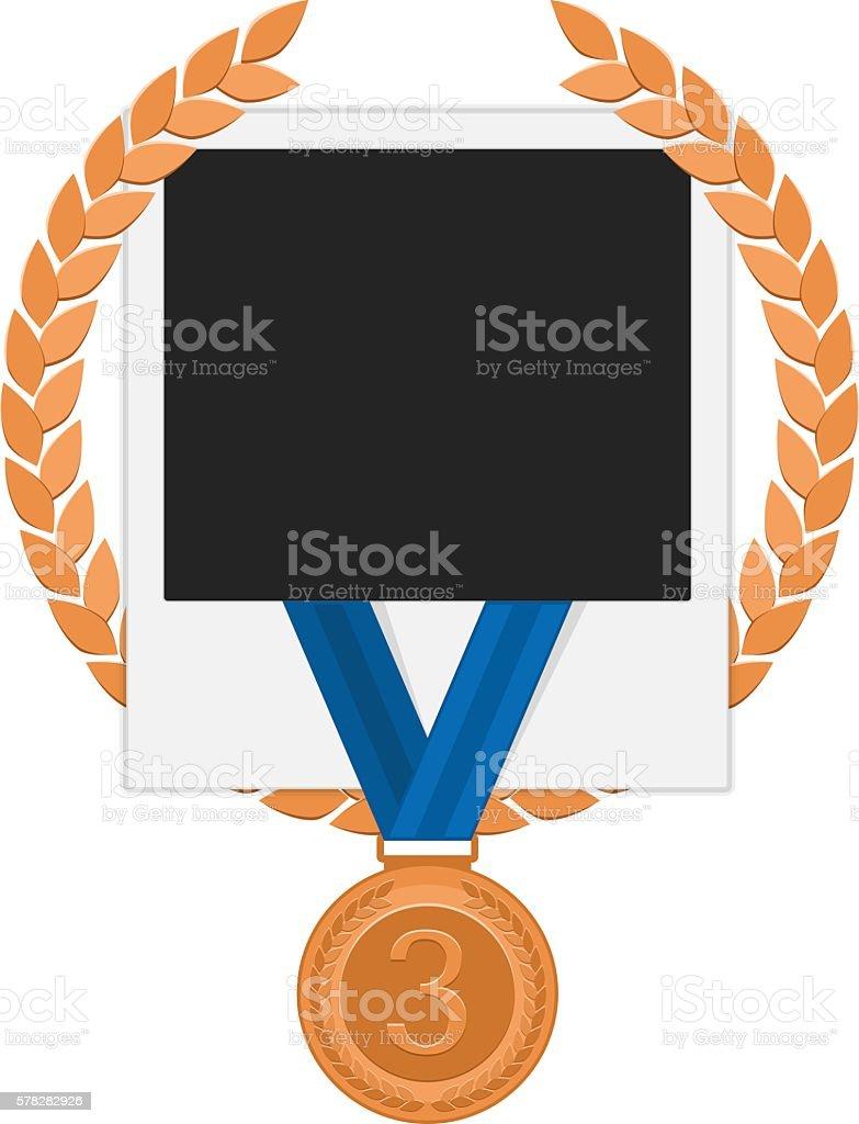 Photo frame with bronze medal vector art illustration