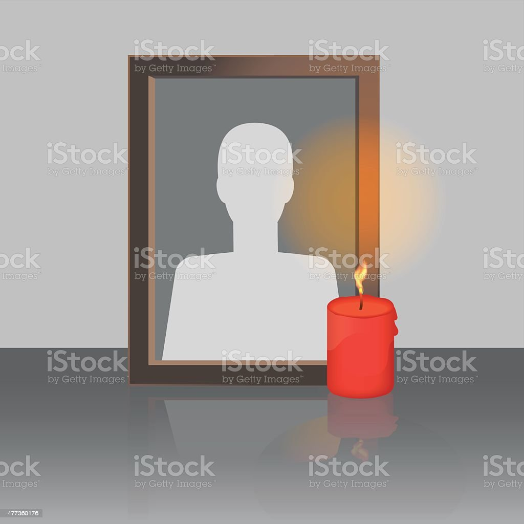 Photo Frame with Candle vector art illustration