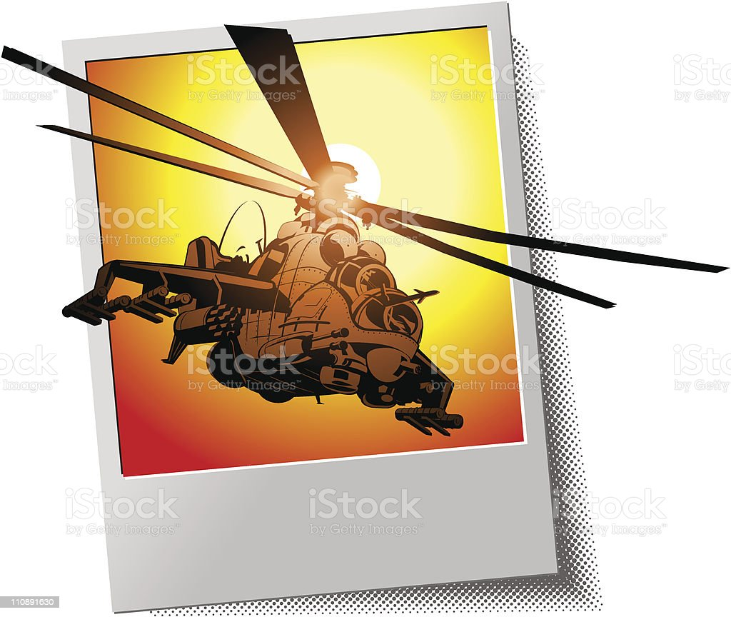 Photo frame with helicopter royalty-free stock vector art