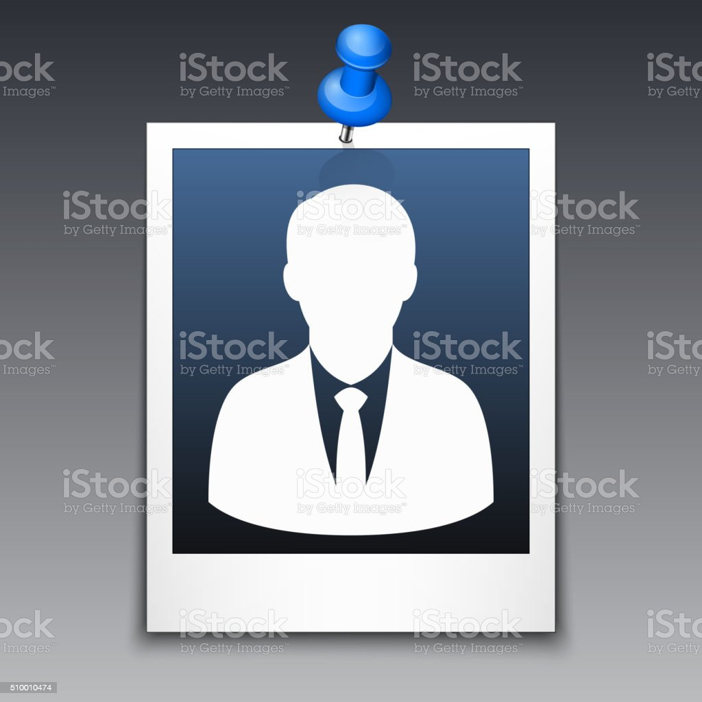 Photo frame with silhouette of man in business suit vector art illustration