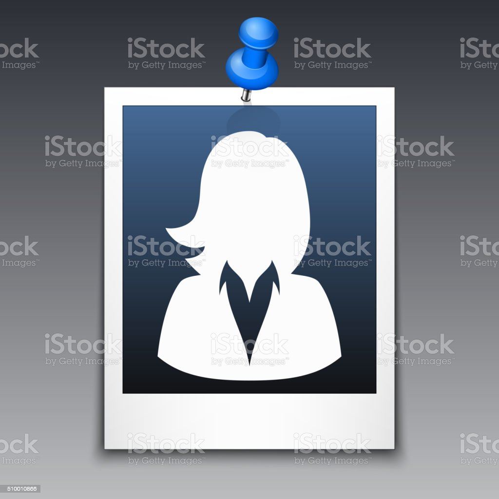Photo frame with silhouette of woman in business suit vector art illustration