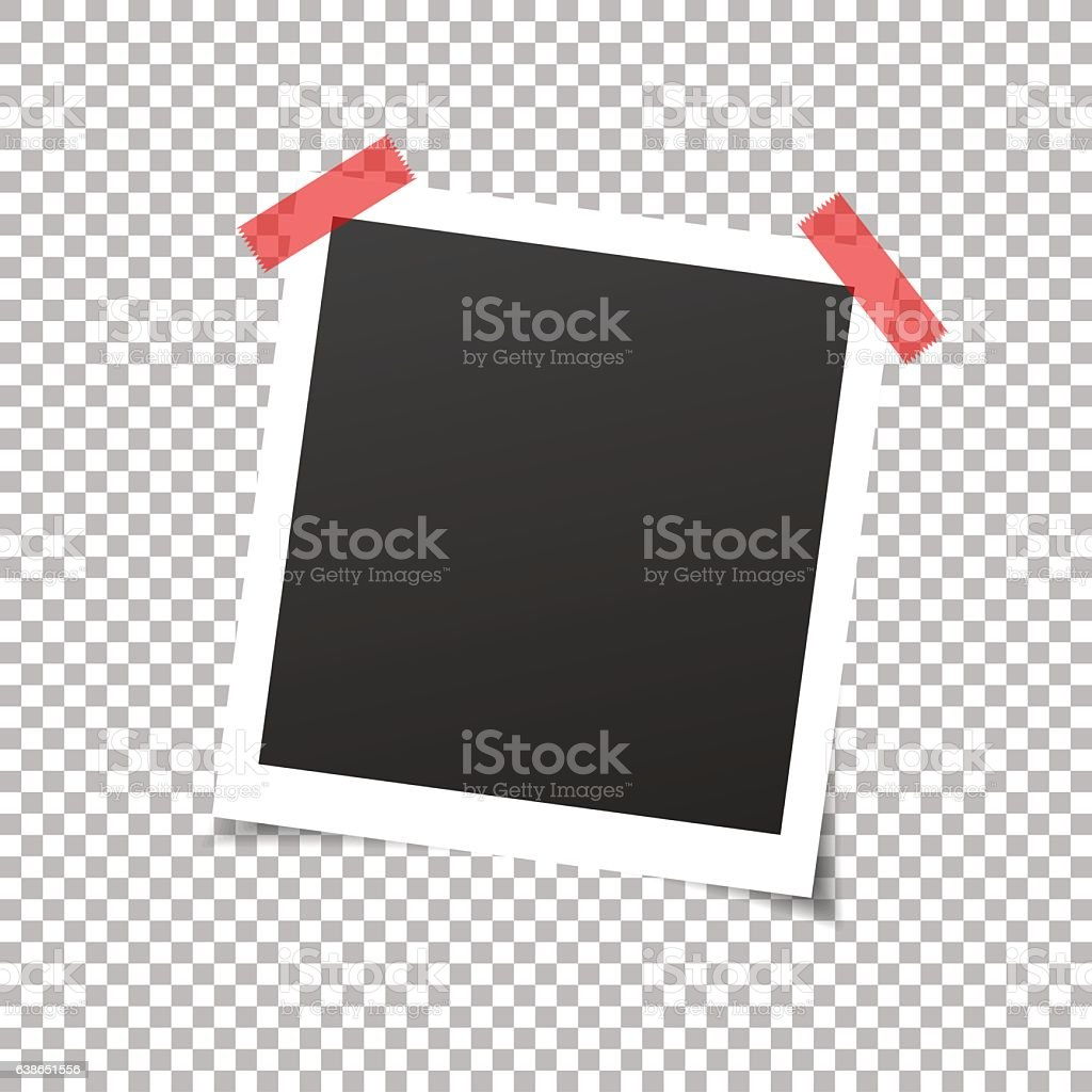 Photo frame with sticky tape. vector art illustration