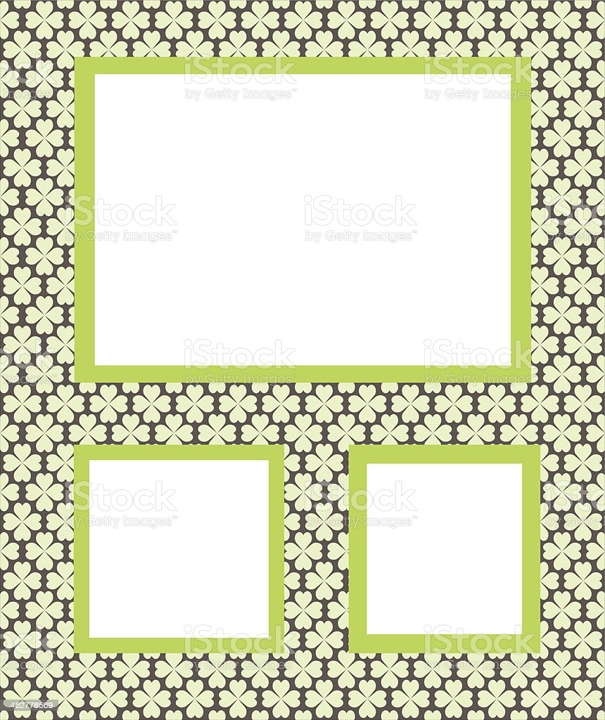 photo frames, background with green flowers vector art illustration