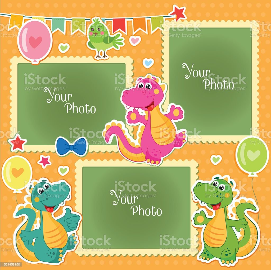 Photo Frames For Kids With Dinosaurs. vector art illustration