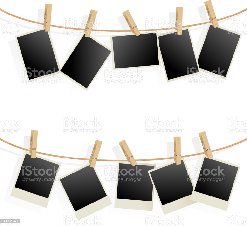 Photo Frames on Rope. vector art illustration