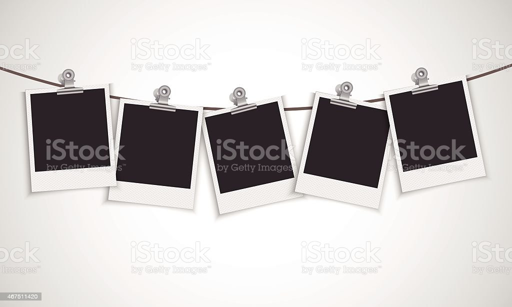 Photo frames with bulldog clip vector art illustration