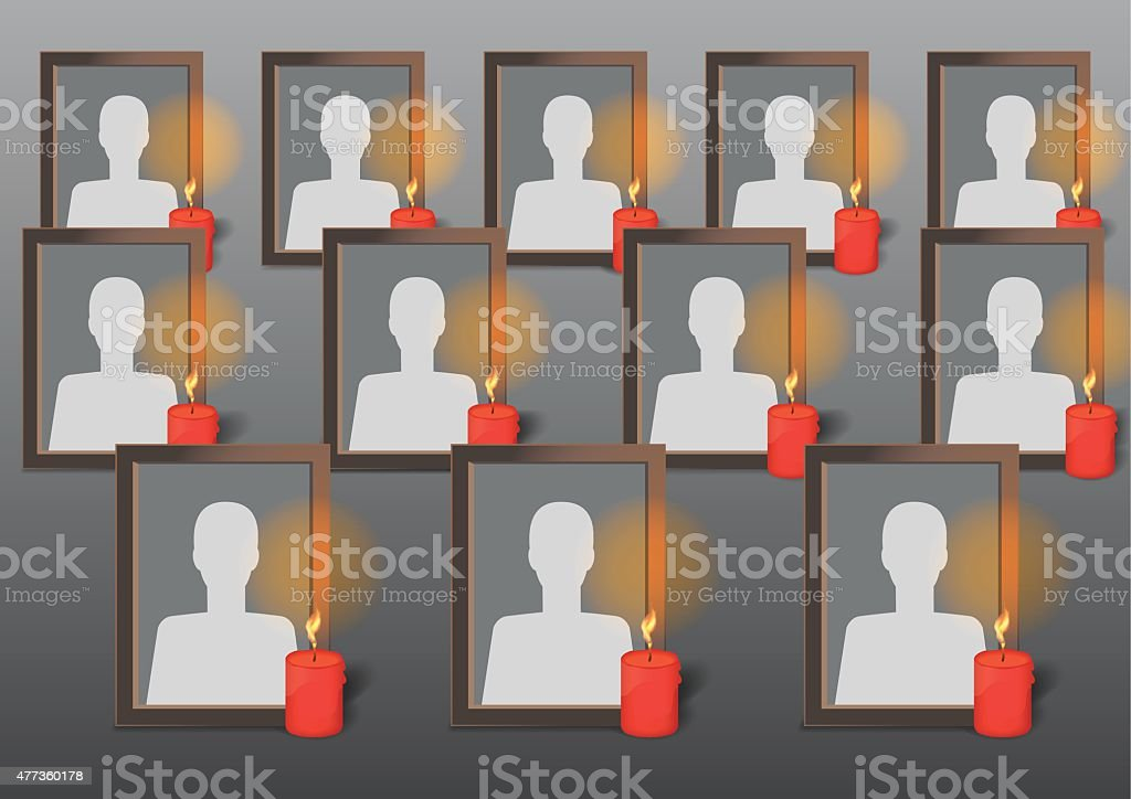 Photo Frames with candles vector art illustration