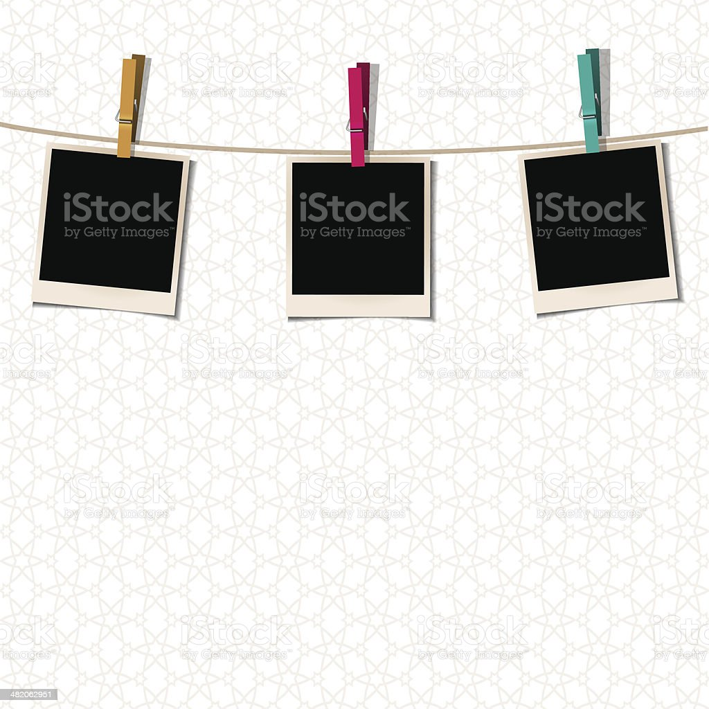 Photo Frames with clothespins vector art illustration